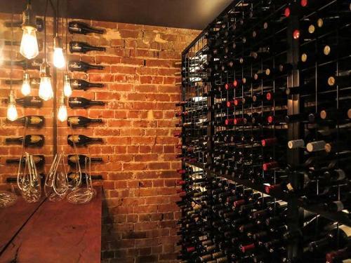 powder coated wine racks with soft lighting