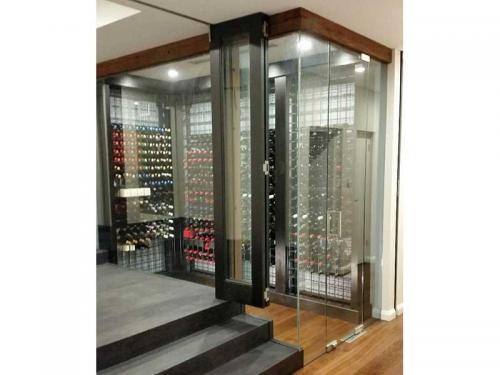Wine Racks behind glass