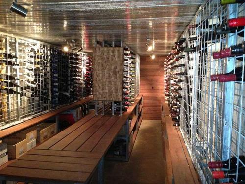Galvanised Wine Racks on benches